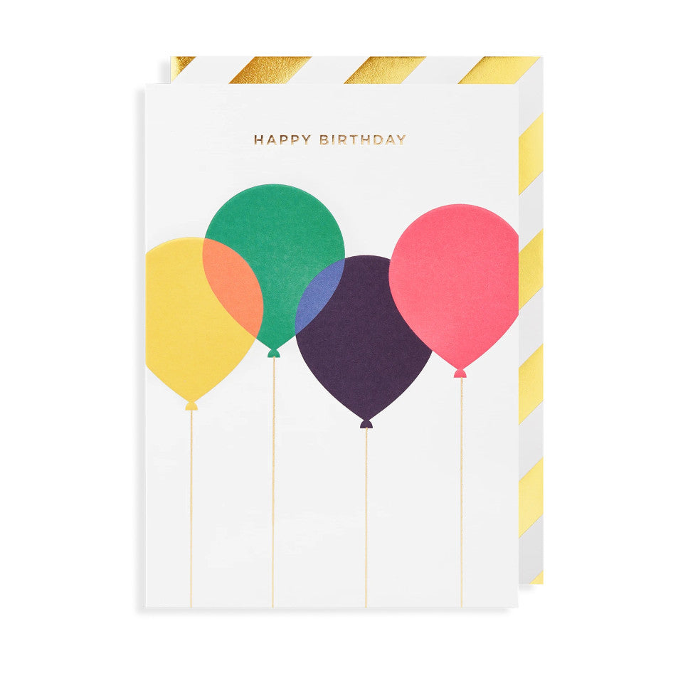 Happy Birthday, blank birthday card, gold lettering above yellow, green, navy and pink overlapping balloons on a white background, with gold and white diagonal striped border envelope.