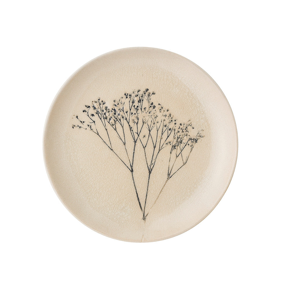 Bea dessert plate (22 cm), crackle glazed stoneware, natural with impressed wildflower motif.