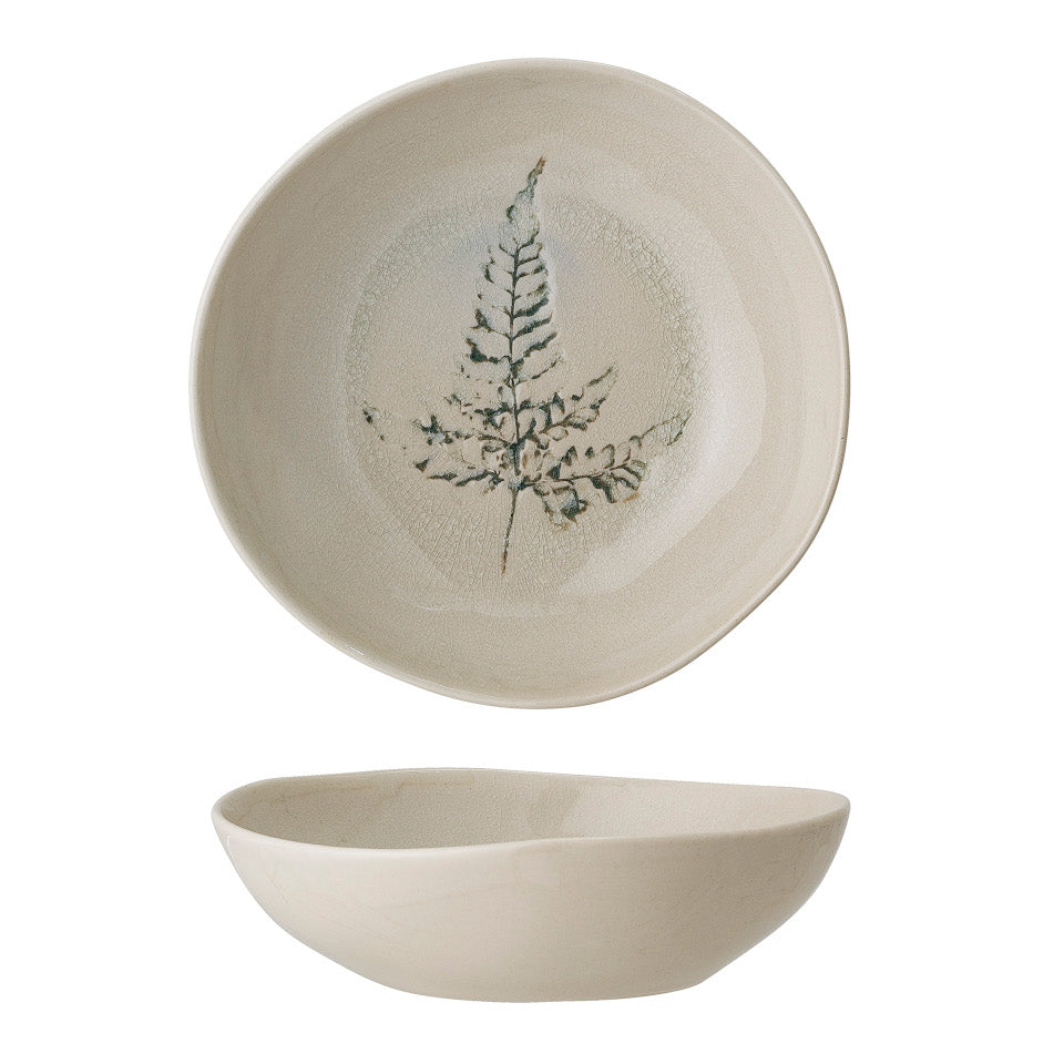 Bea soup bowl, crackle glazed stoneware, natural with impressed wildflower motif, viewed from the side and above.