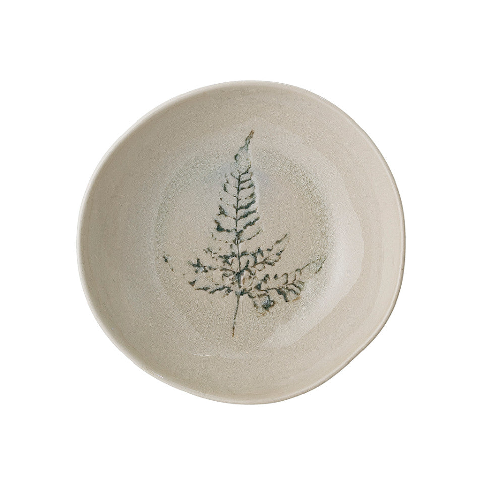 Bea soup bowl, crackle glazed stoneware, natural with impressed wildflower motif.