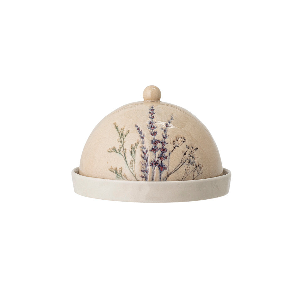 Bea butter dome, crackle glazed stoneware, natural with impressed wildflower motif.