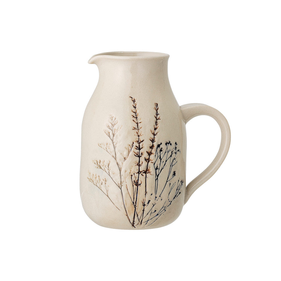 Bea jug, crackle glazed stoneware, natural with impressed wildflower motif.