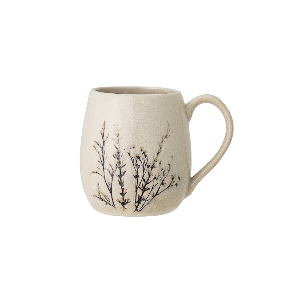 Bea mug, crackle glazed stoneware, natural with impressed wildflower motif.