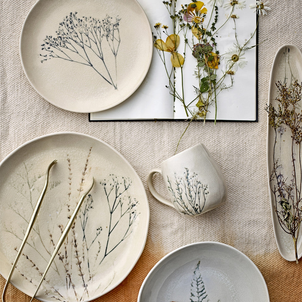 Bea range, crackle glazed stoneware, natural with impressed wildflower motif.