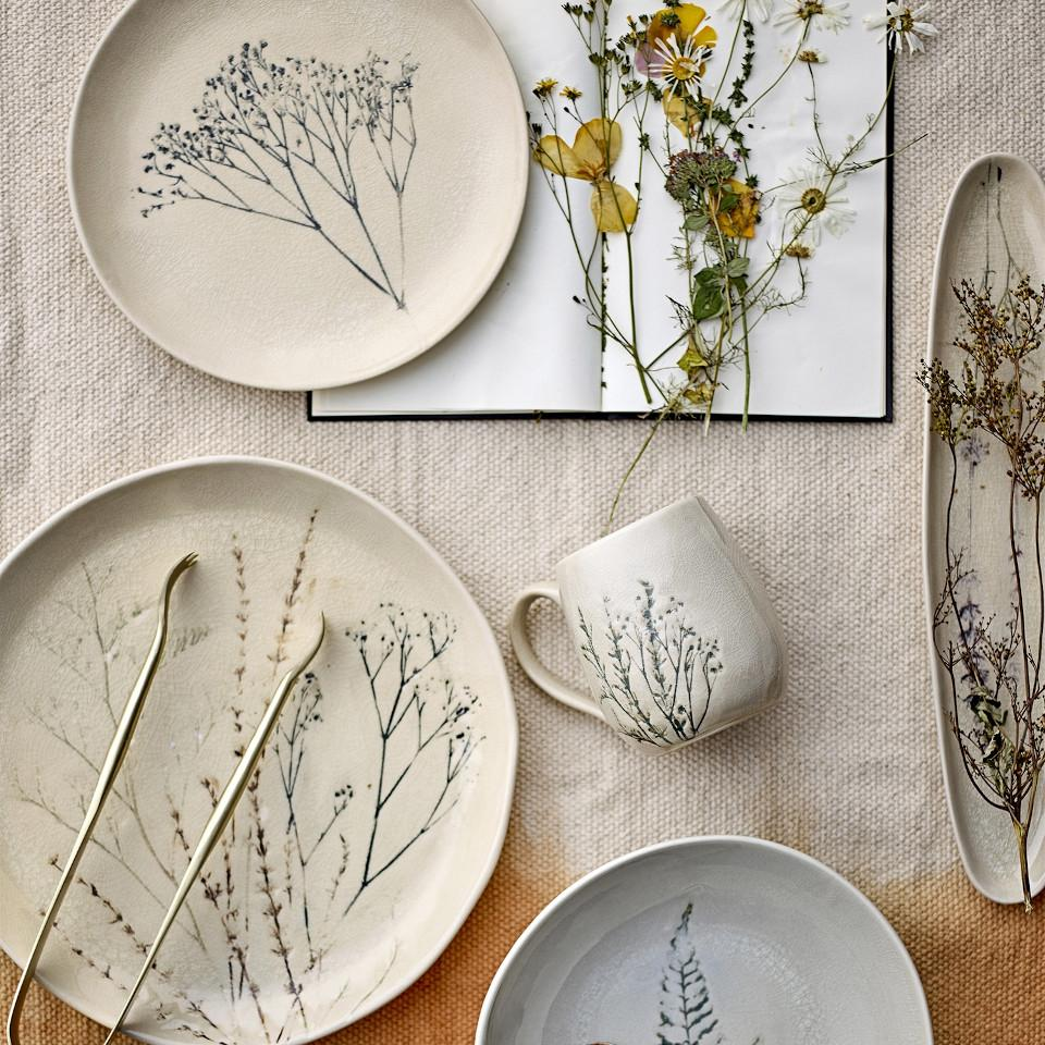 Bea serving plate, crackle glazed stoneware, natural with impressed wildflower motif.