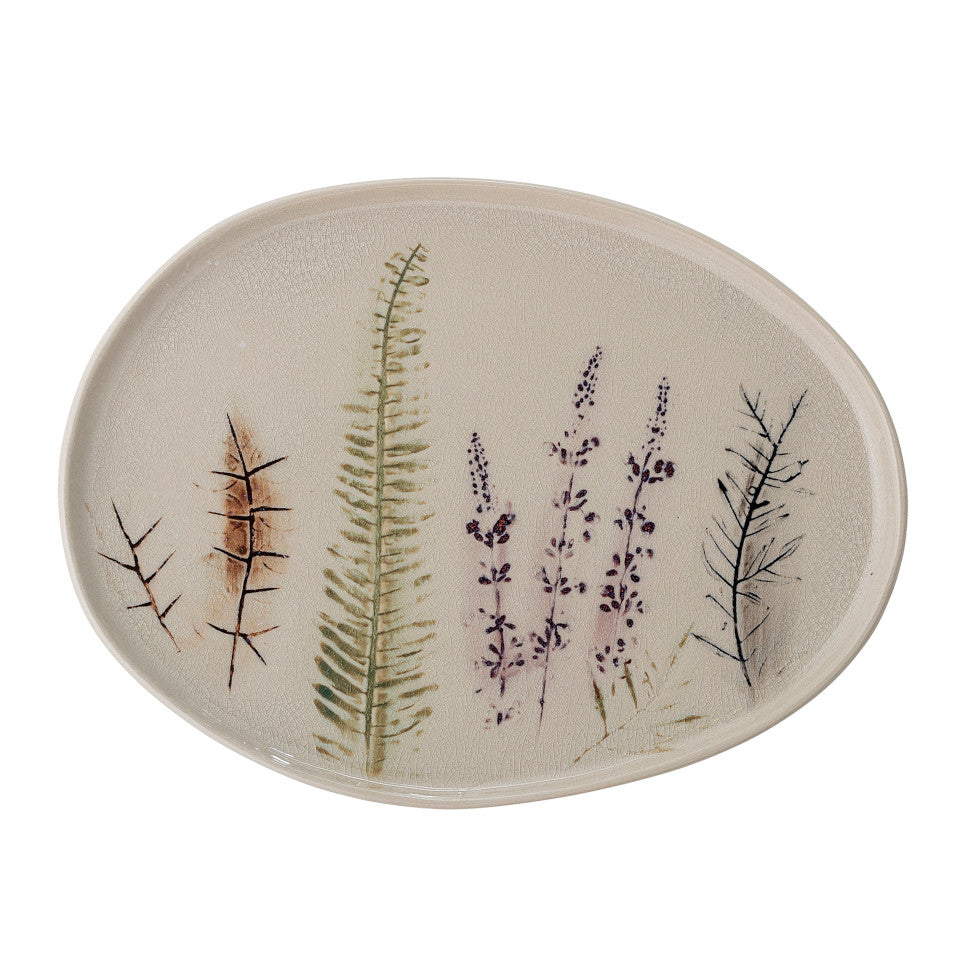 Bea serving platter, crackle glazed stoneware, natural with impressed wildflower motif.