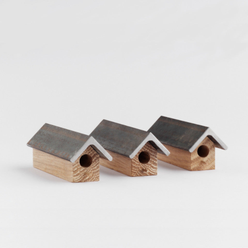 Bees Knees oak and steel solitary bee houses, set of three.