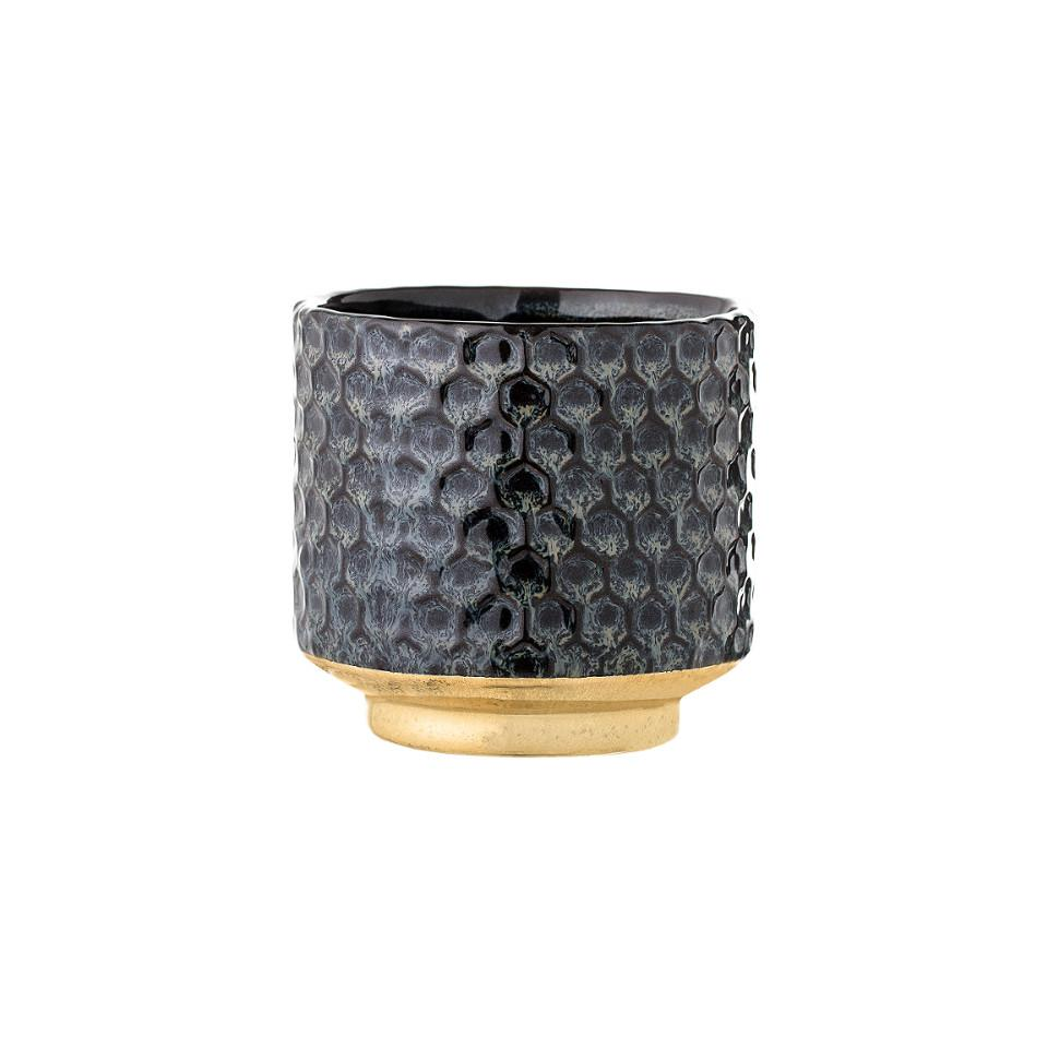 Blue / black honeycomb patterned flowerpot with gold base.
