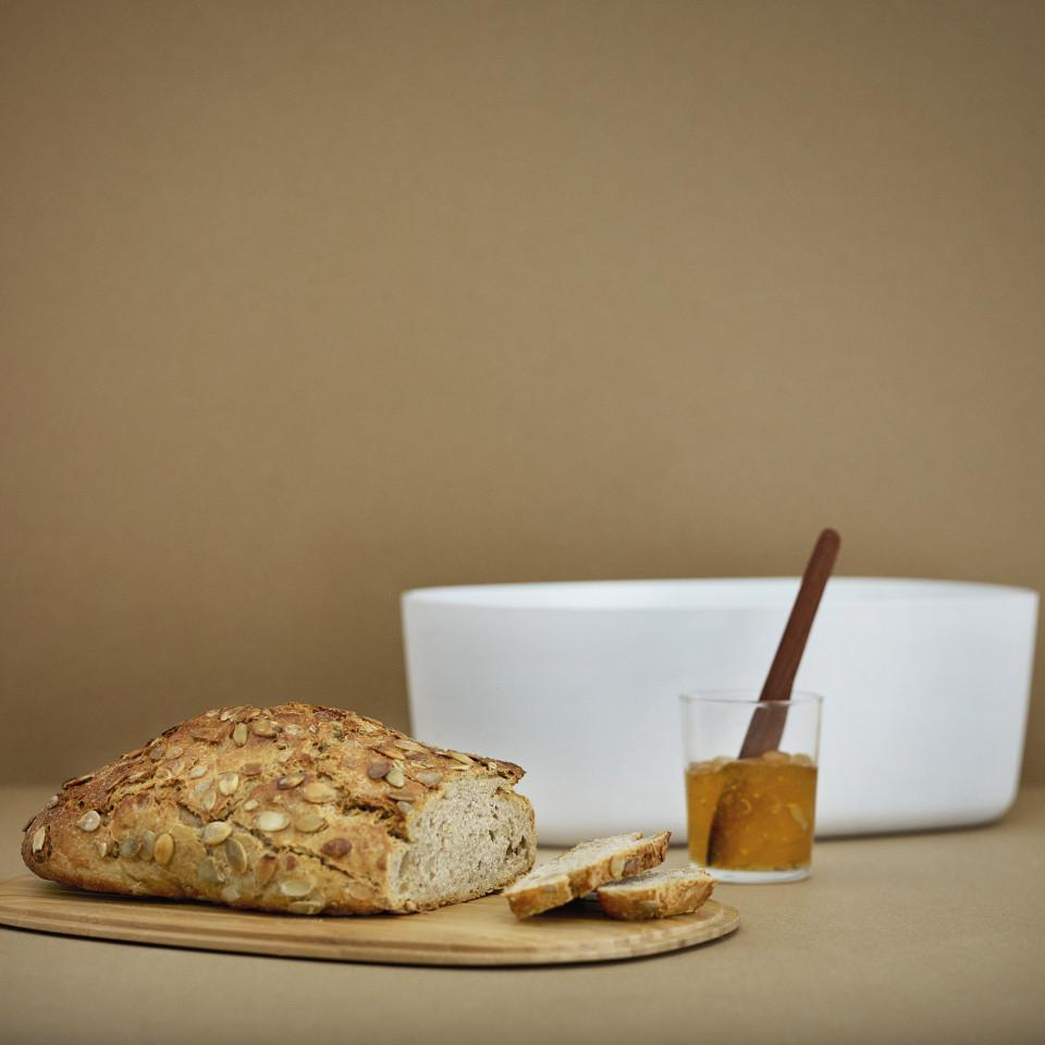 Box-it bread box by RigTig, styled styled with bread.
