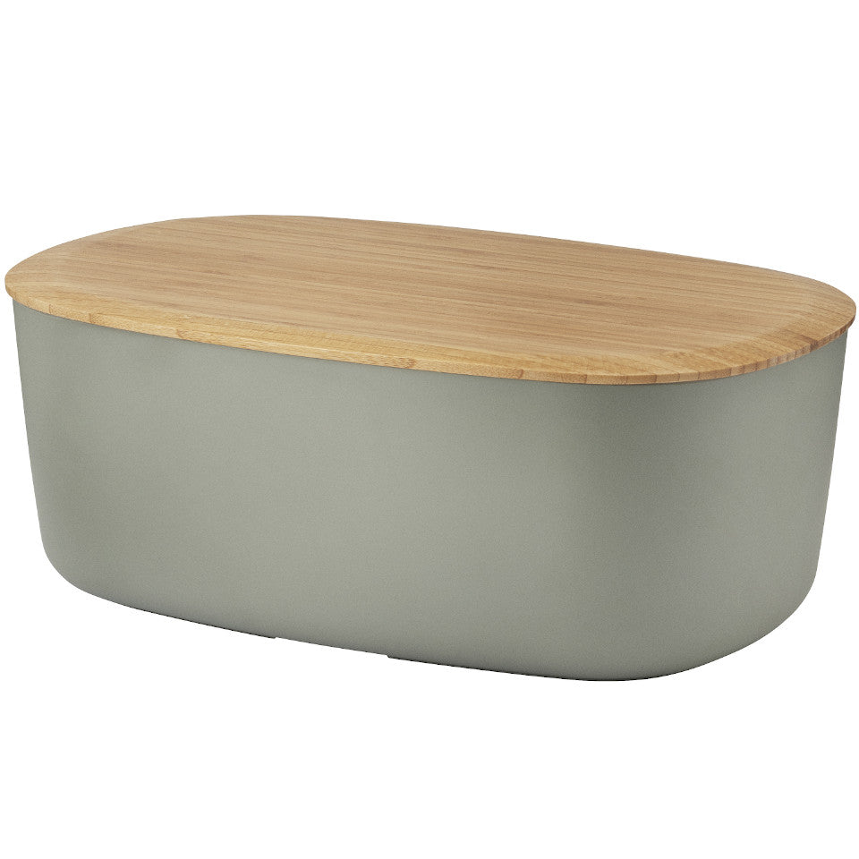 Box-it bread box by RigTig, warm grey with bamboo lid/breadboard.
