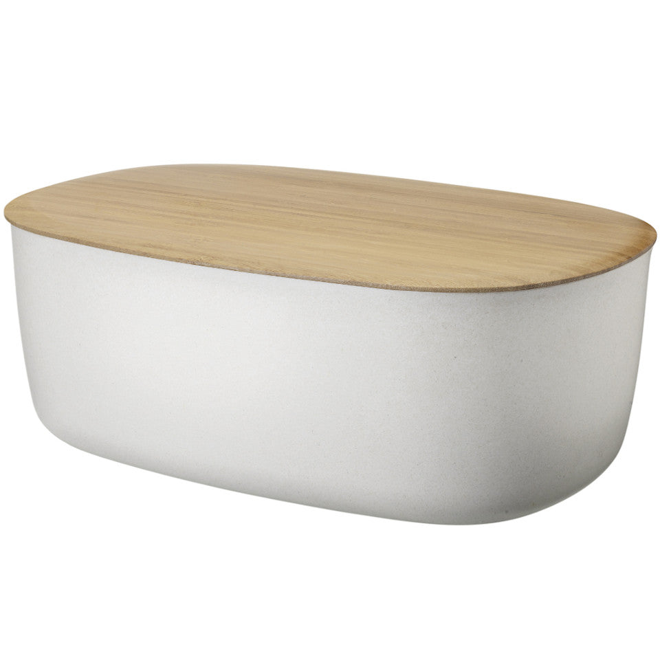 Box-it bread box by RigTig, white with bamboo lid/breadboard.