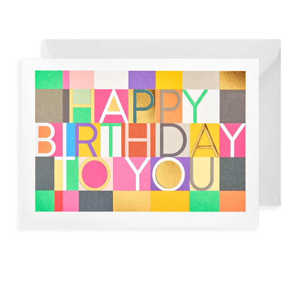 Happy Birthday To You, birthday card with gold and bright squares and rectangles, with white envelope.