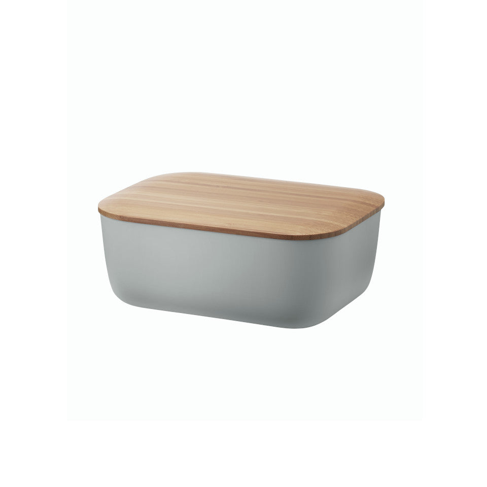 Box-it butter box by RigTig, warm grey with bamboo lid.