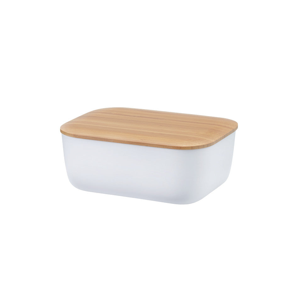 Box-it butter dish by RigTig, white with bamboo lid.