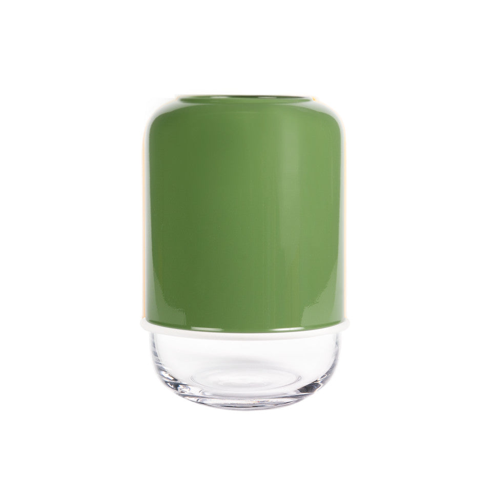 Capsule green/clear extending glass vase.