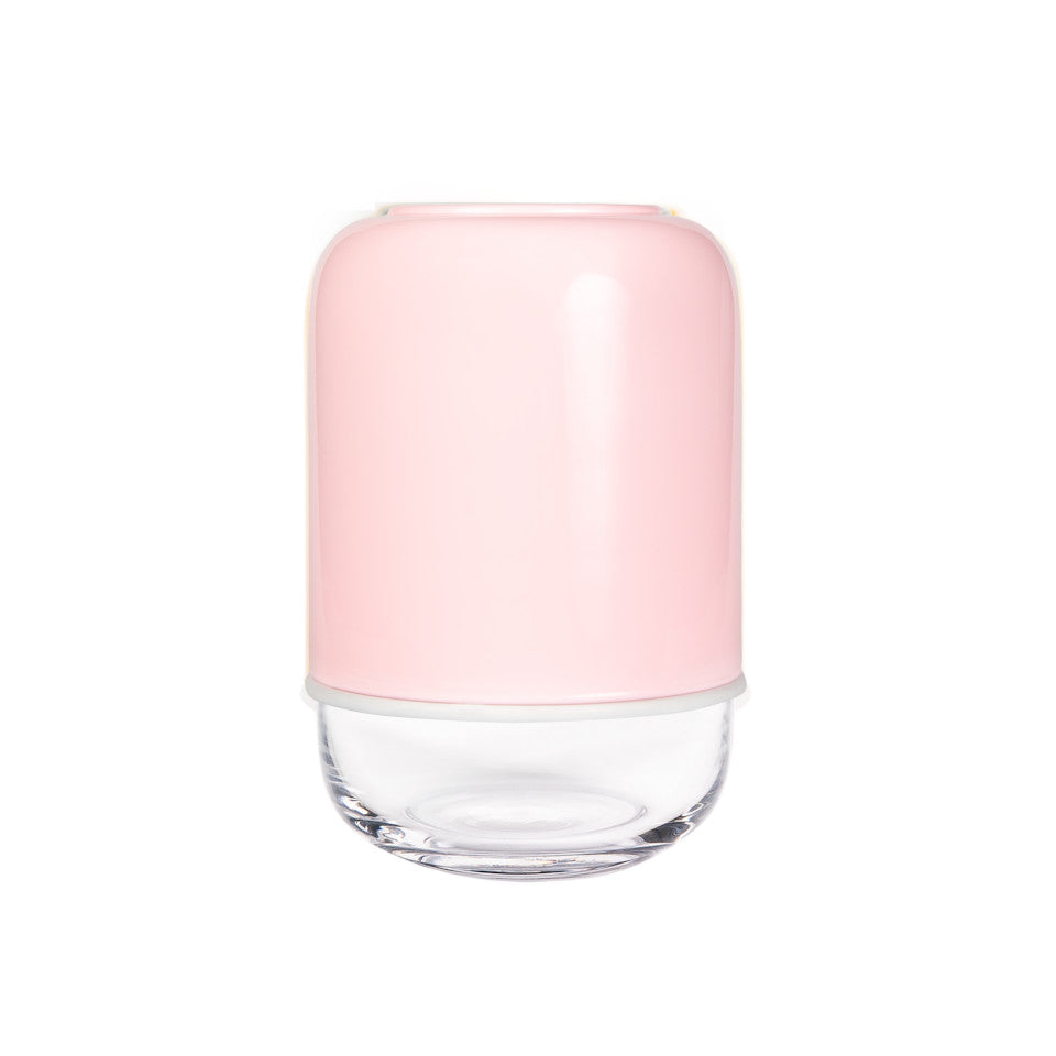 Capsule pink/clear extending glass vase.
