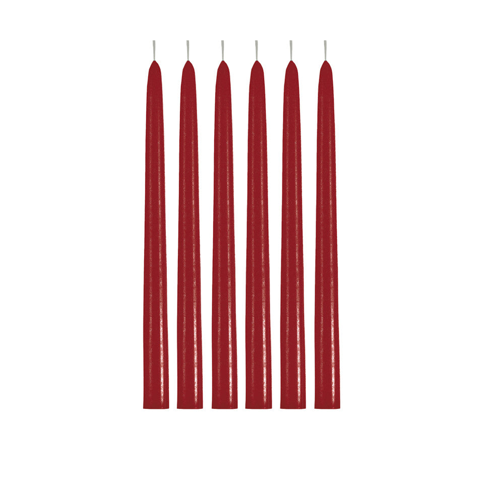 6 Christmas red taper candles.