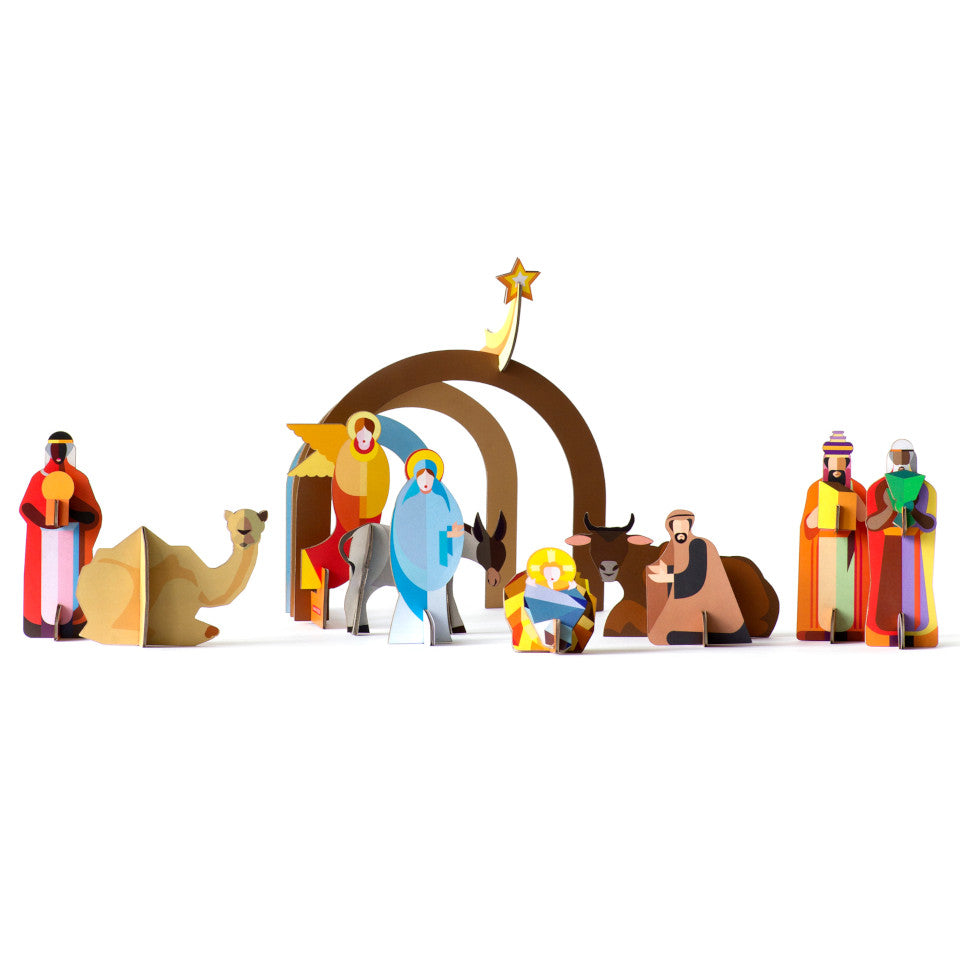 Christmas Crib pop out and play cardboard nativity scene.