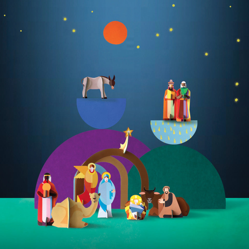 Christmas Crib pop out and play cardboard nativity scene, styled.