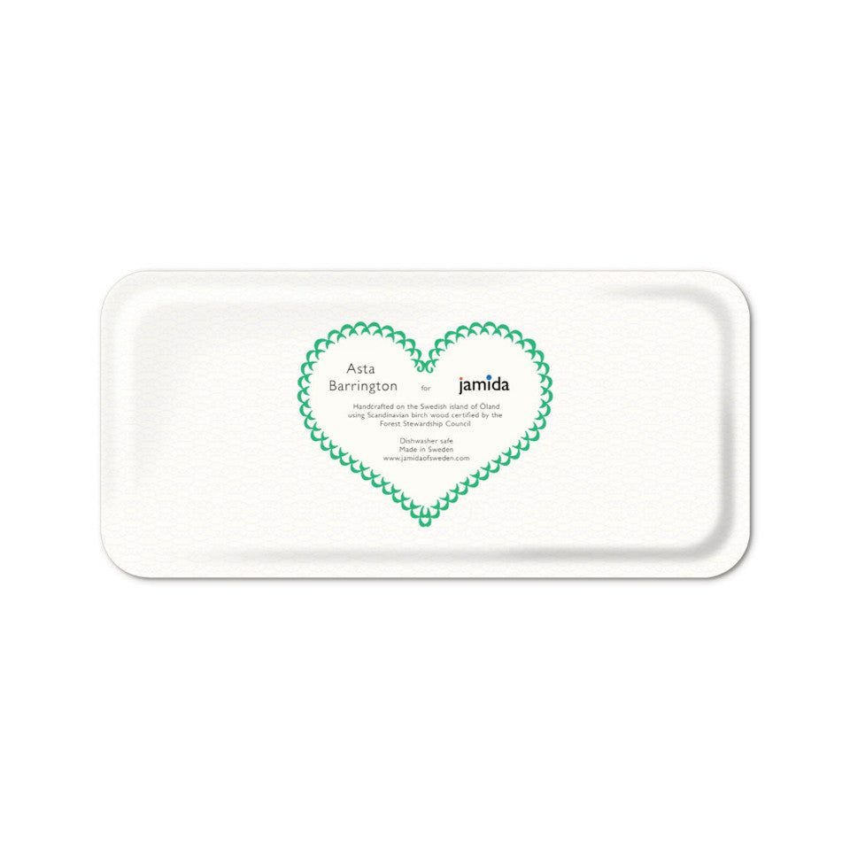 CIAO by Asta Barrington, green oblong tray back, 32 cm x 15 cm.