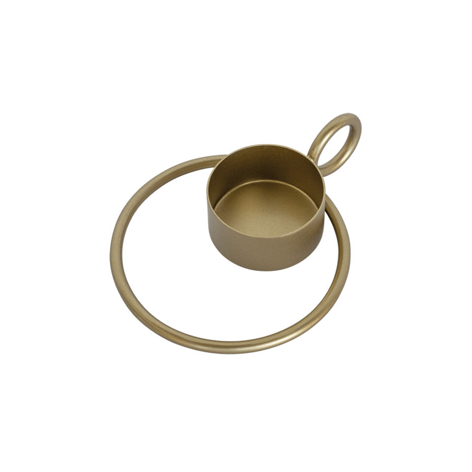 Circle brass-finish iron candleholder, simple holder with outer decorative ring and vertical ring as a finger holder.