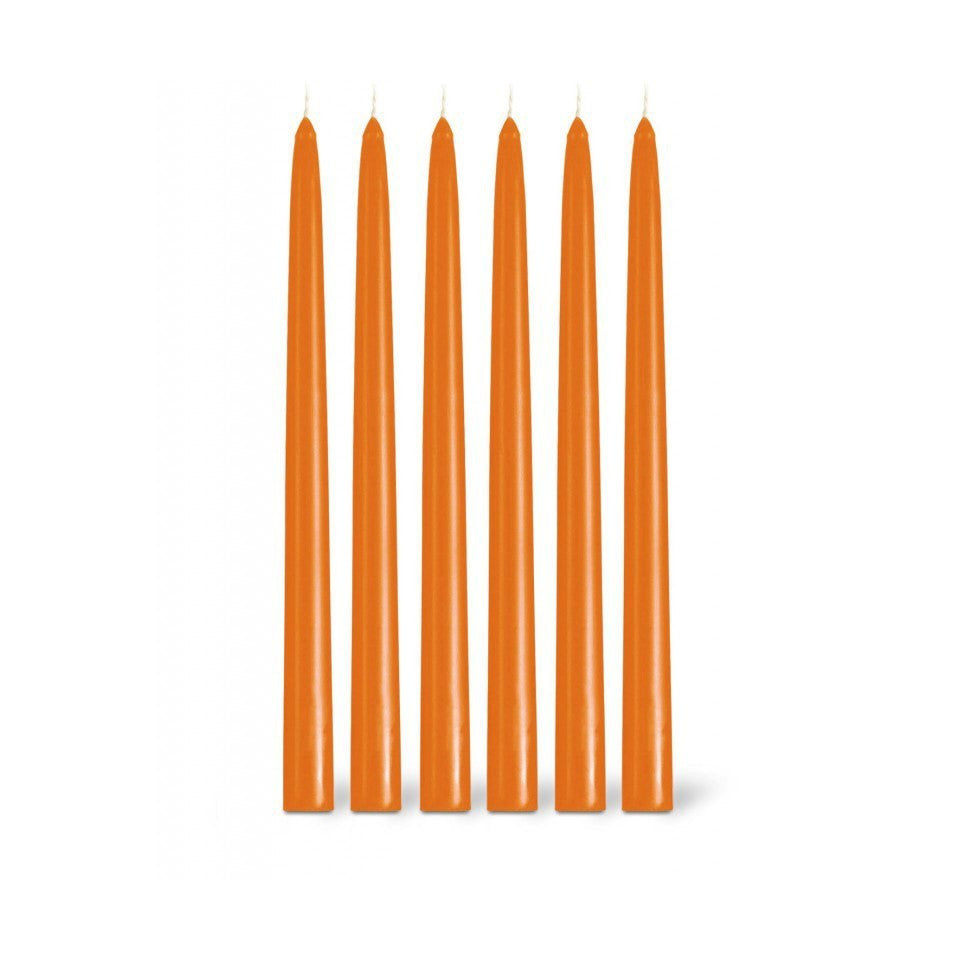 6 clementine taper candles.