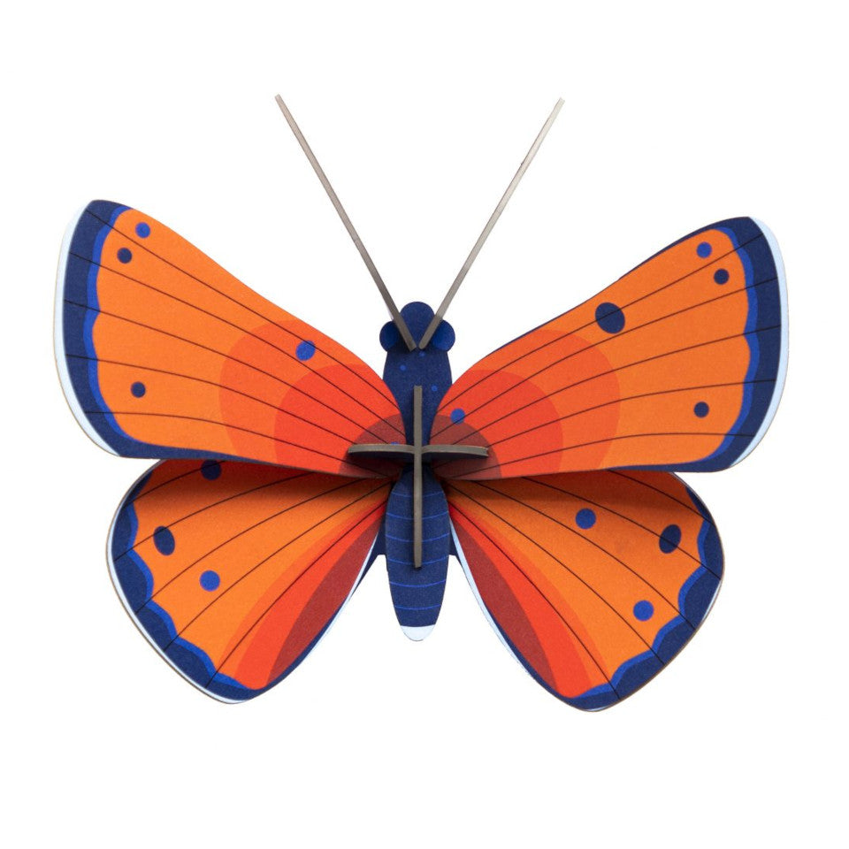 Copper butterfly 3D decorative wall object.
