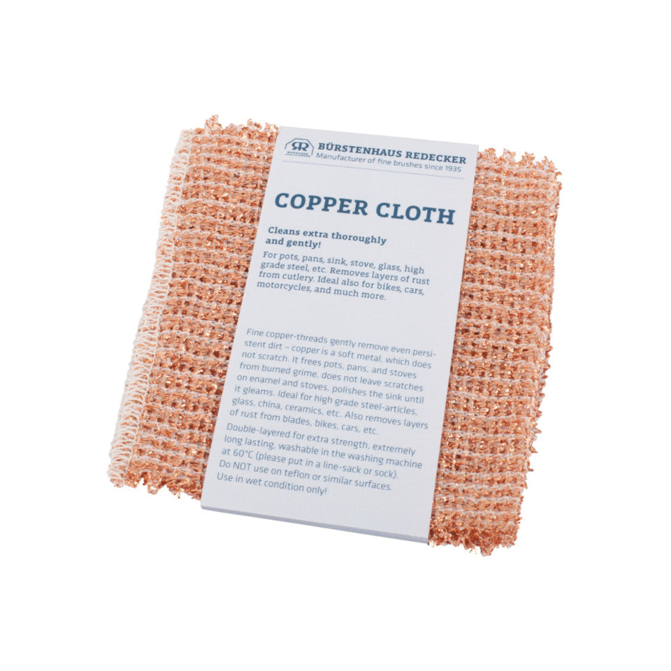 Copper cloth for tough but gentle cookware cleaning.