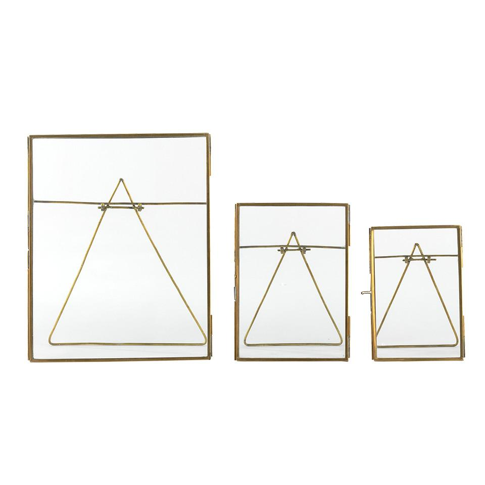 "Danta standing antique brass frame, left to right, large for 8"" x 10"", medium for 5"" x7"" and small for 4""x 6"" photograph."
