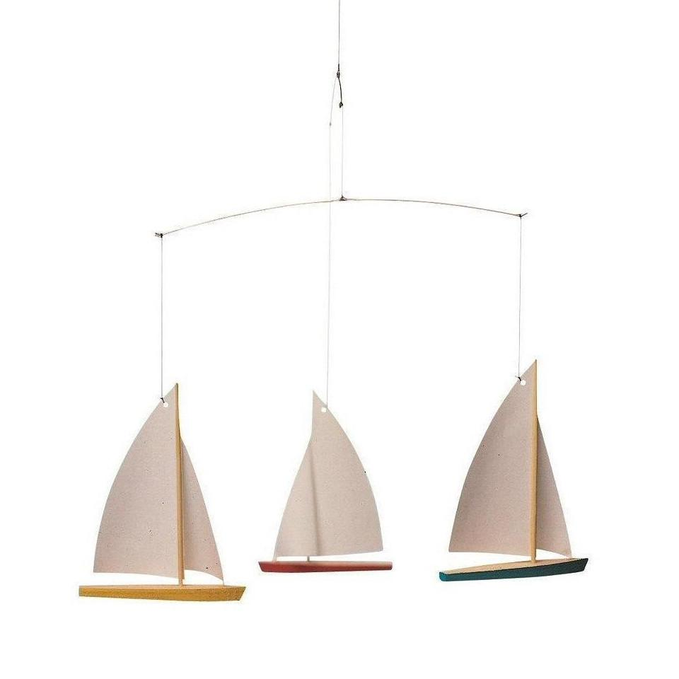 Flensted 3 Dinghys (coloured with white sails) mobile.