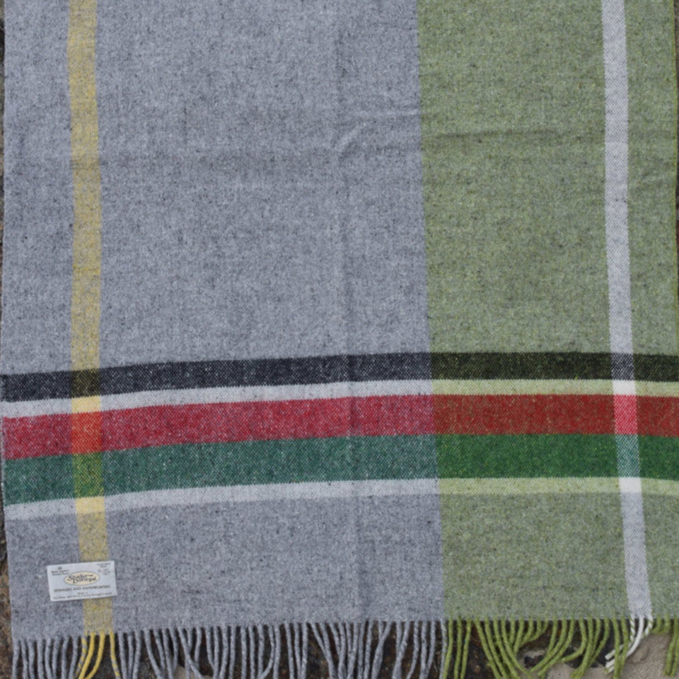 Studio Donegal, Donegal Days, Payday, small wool throw, red, green, white, black, and pale grey check.
