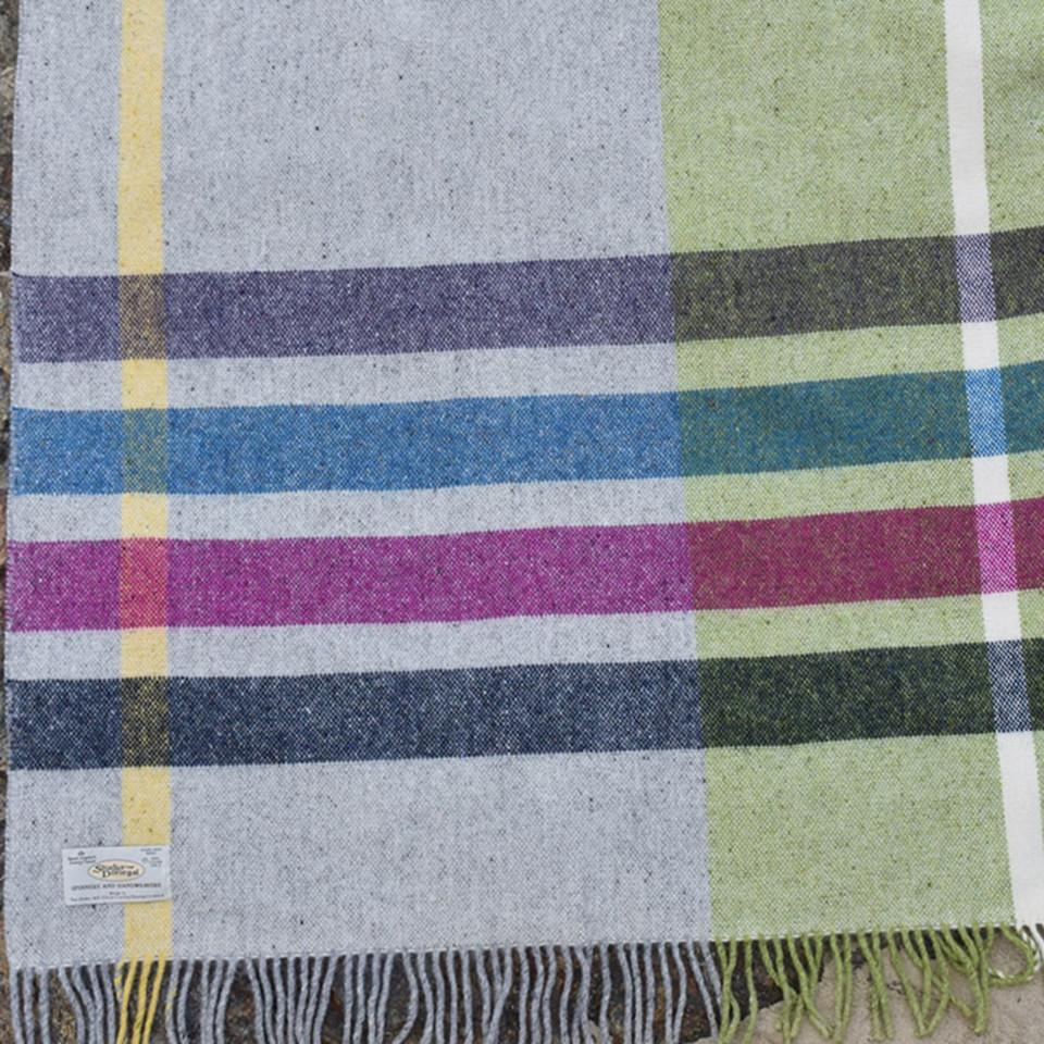 Donegal Days by Studio Donegal, Rainy, small wool throw, teal, fuschia, granite, green and grey check.