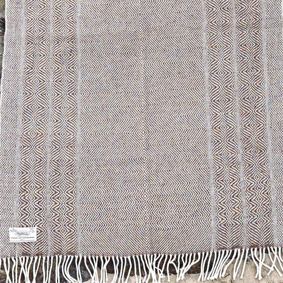 Studio Donegal undulating twill large wool throw, Donegal tan.