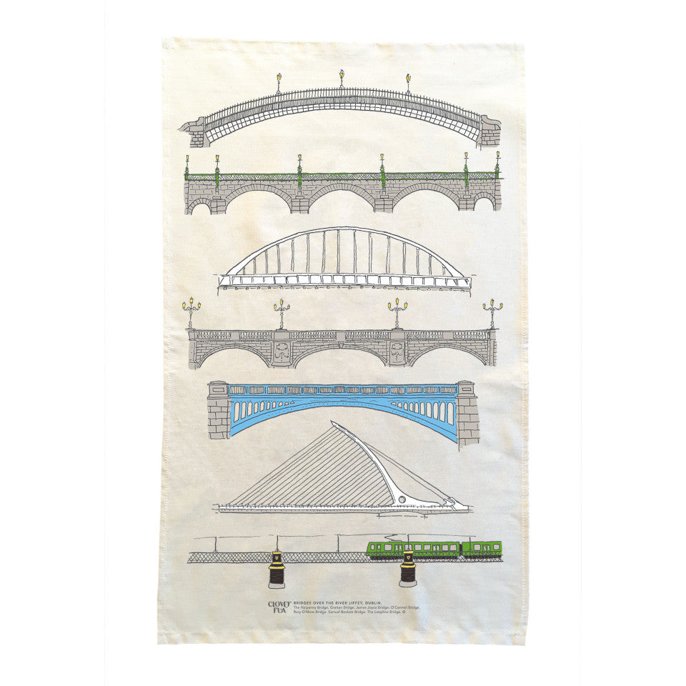 Dublin Bridges cotton tea towel.