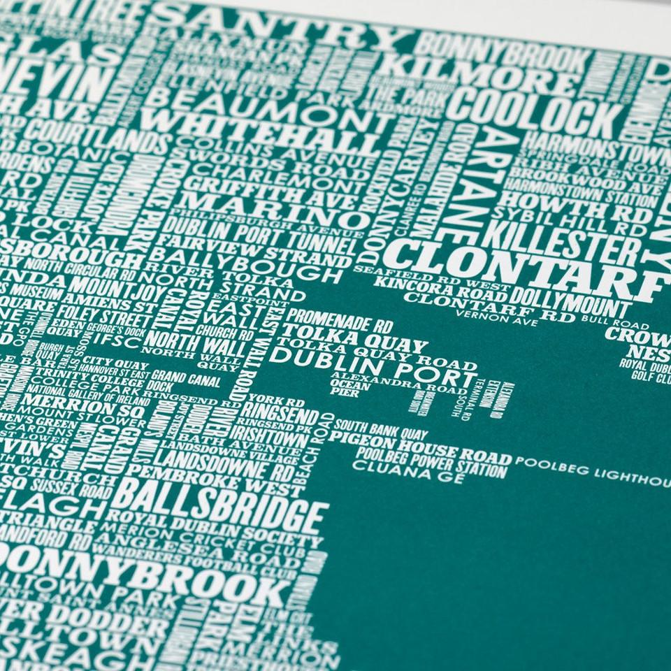 Dublin typographic map, 70 cm x 50 cm, deep sea green, close-up.