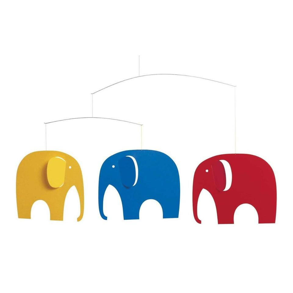 Flensted Elephant Party (primary colours) mobile.