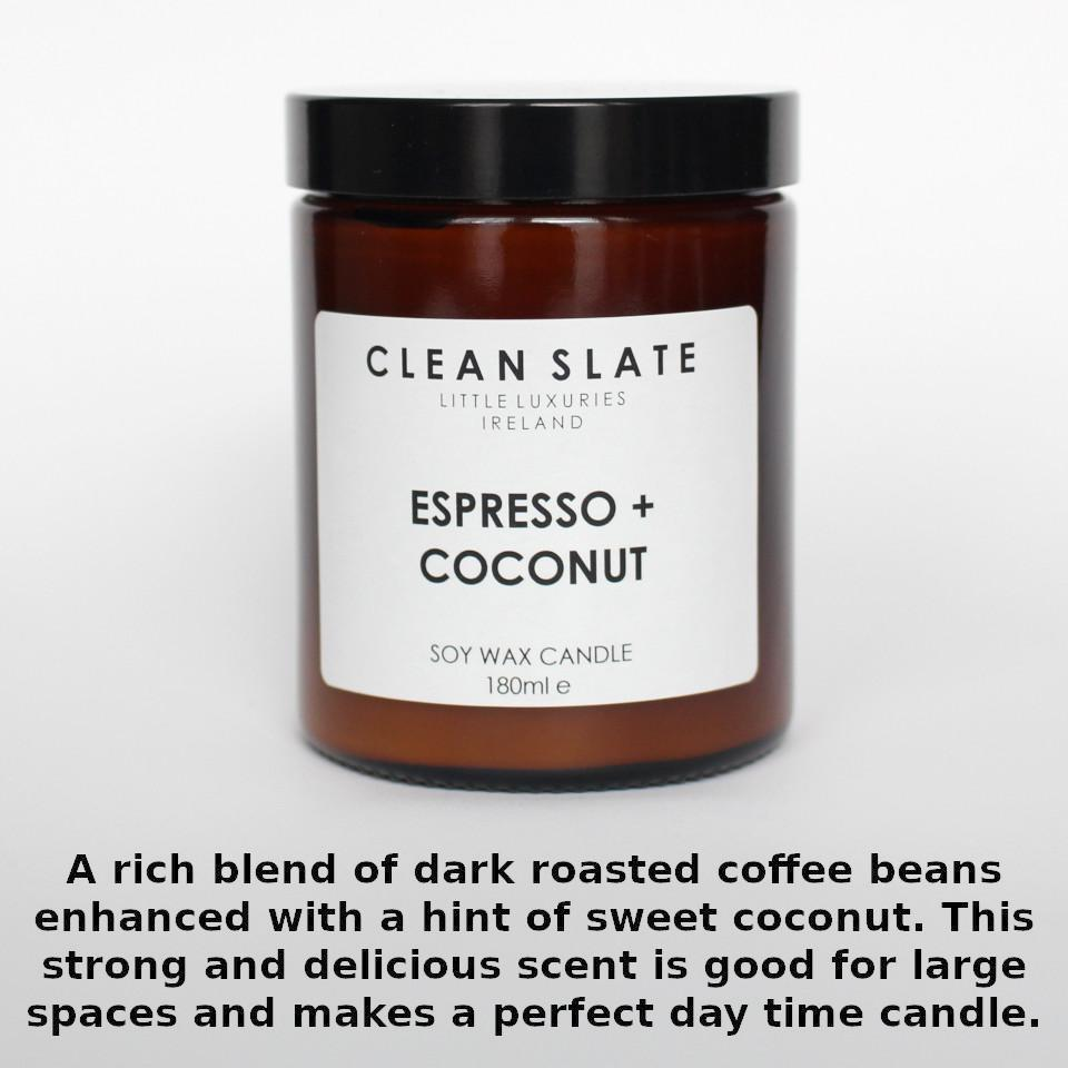 Clean Slate espresso and coconut scented candle in apothecary-style jar, with aroma notes.