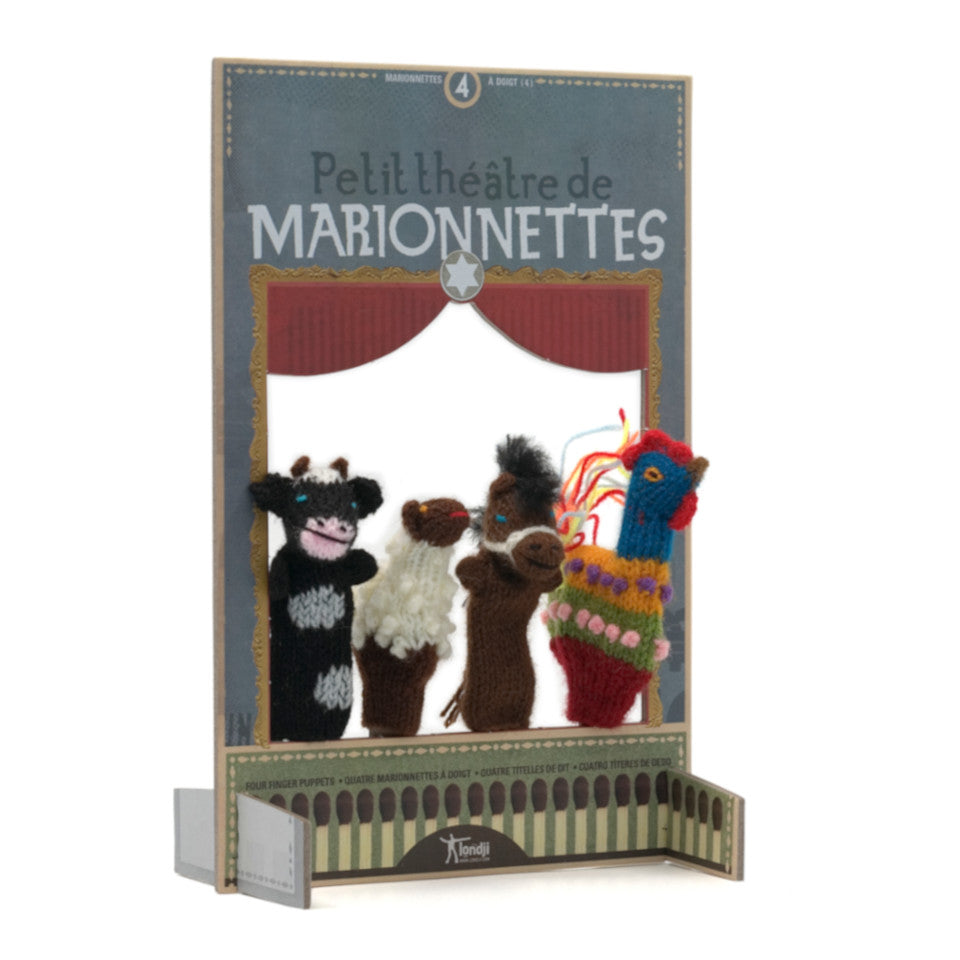 Farm animals  wool finger puppet and cardboard theatre.