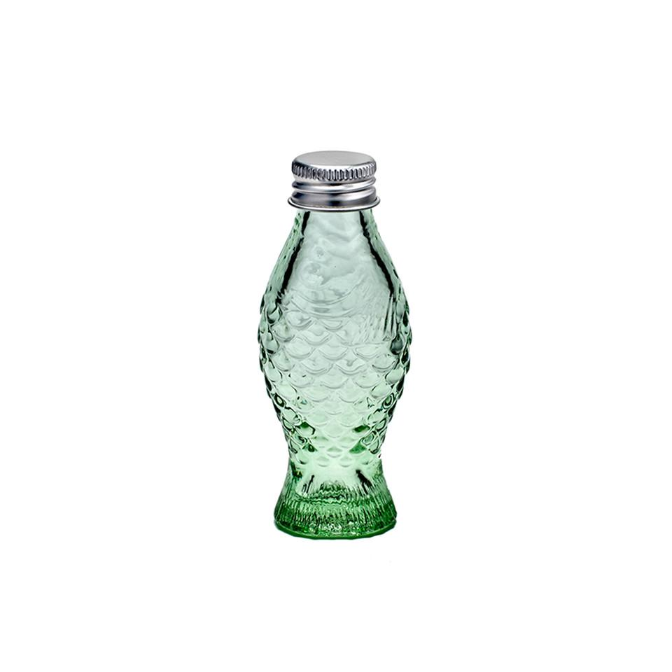 Fish and fish 'Depression' green glass bottle with lid.