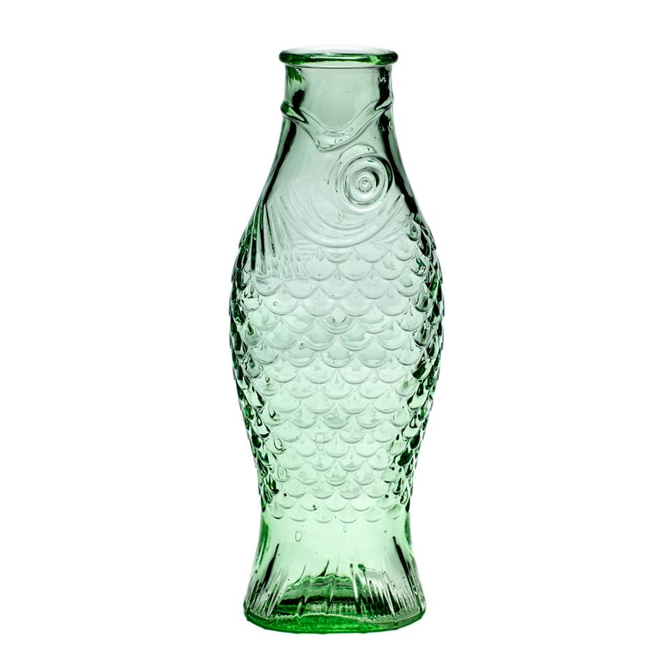 Fish and fish green glass carafe.