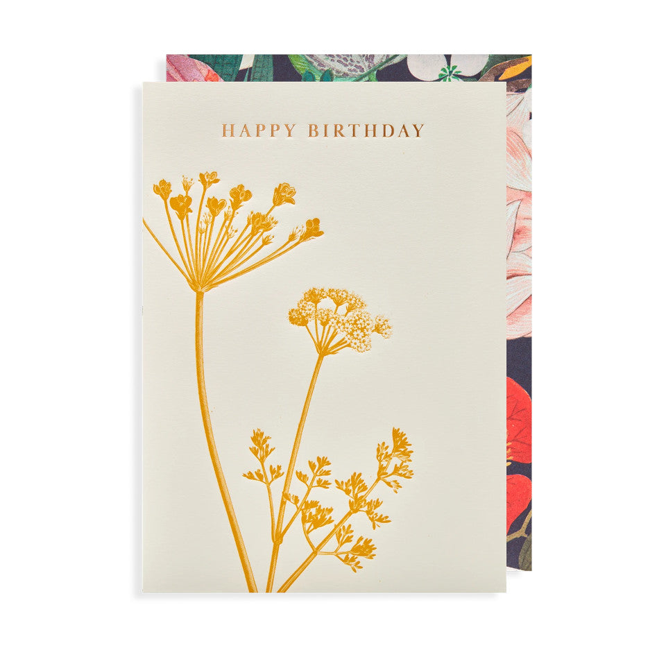 Happy Birthday, blank birthday card, with gold lettering above yellow cow-parsley on a white background, with floral border envelope.