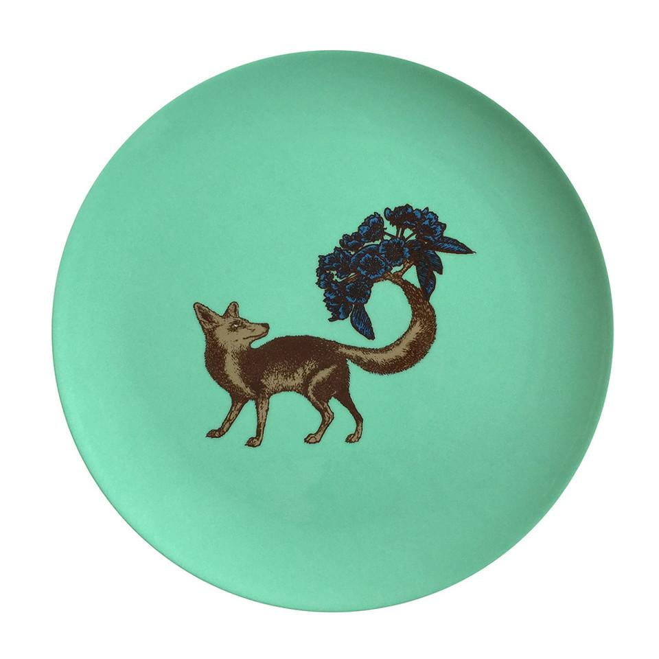 Fox, turquoise dinner plate.