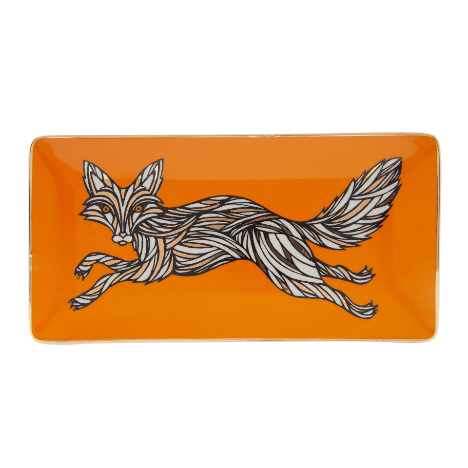 Fox trinket tray, orange background.