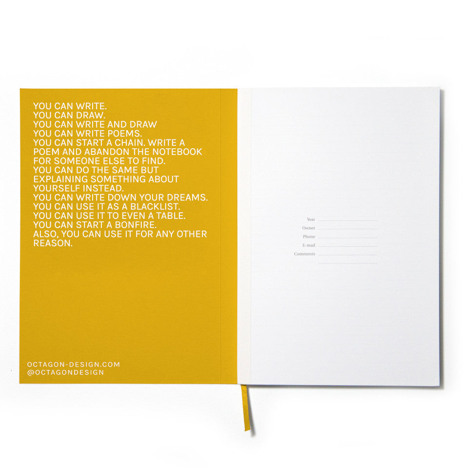 FUN yellow notebook with white lettering, inside page detail.