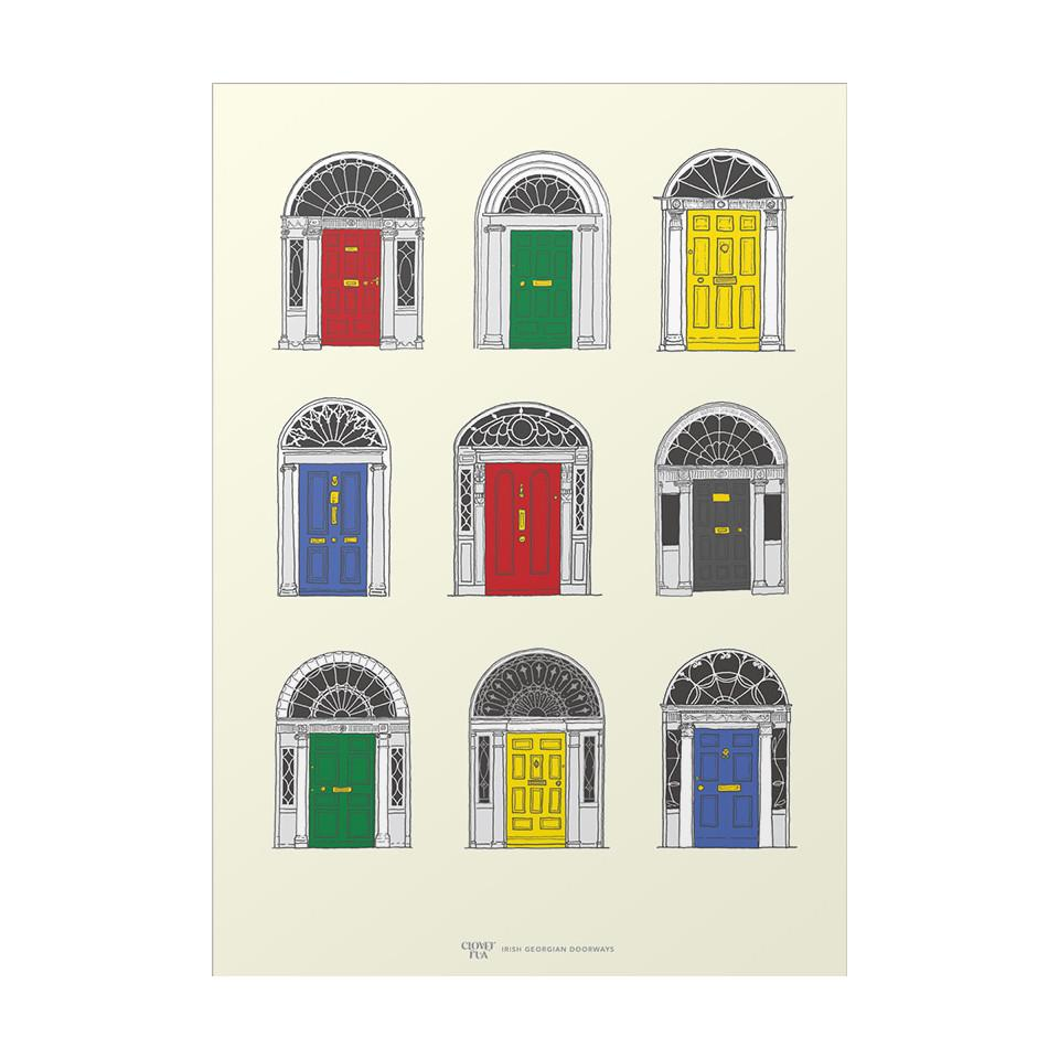 Georgian doors, primary colours, A4 print.