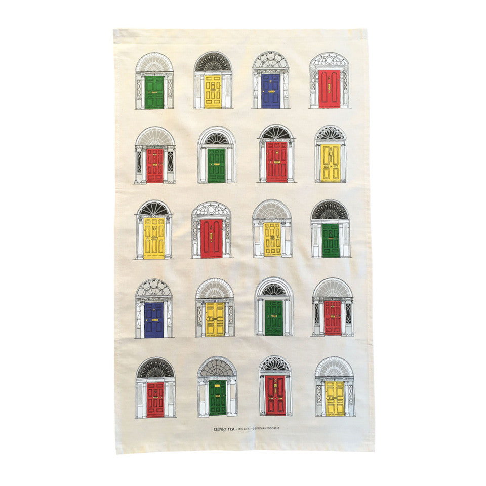 Goergian Doors cotton tea towel, with primary coloured doors.