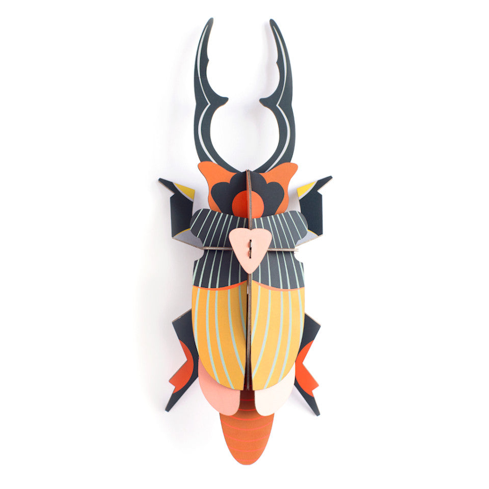 Giant Stag beetle cardboard wall decoration.