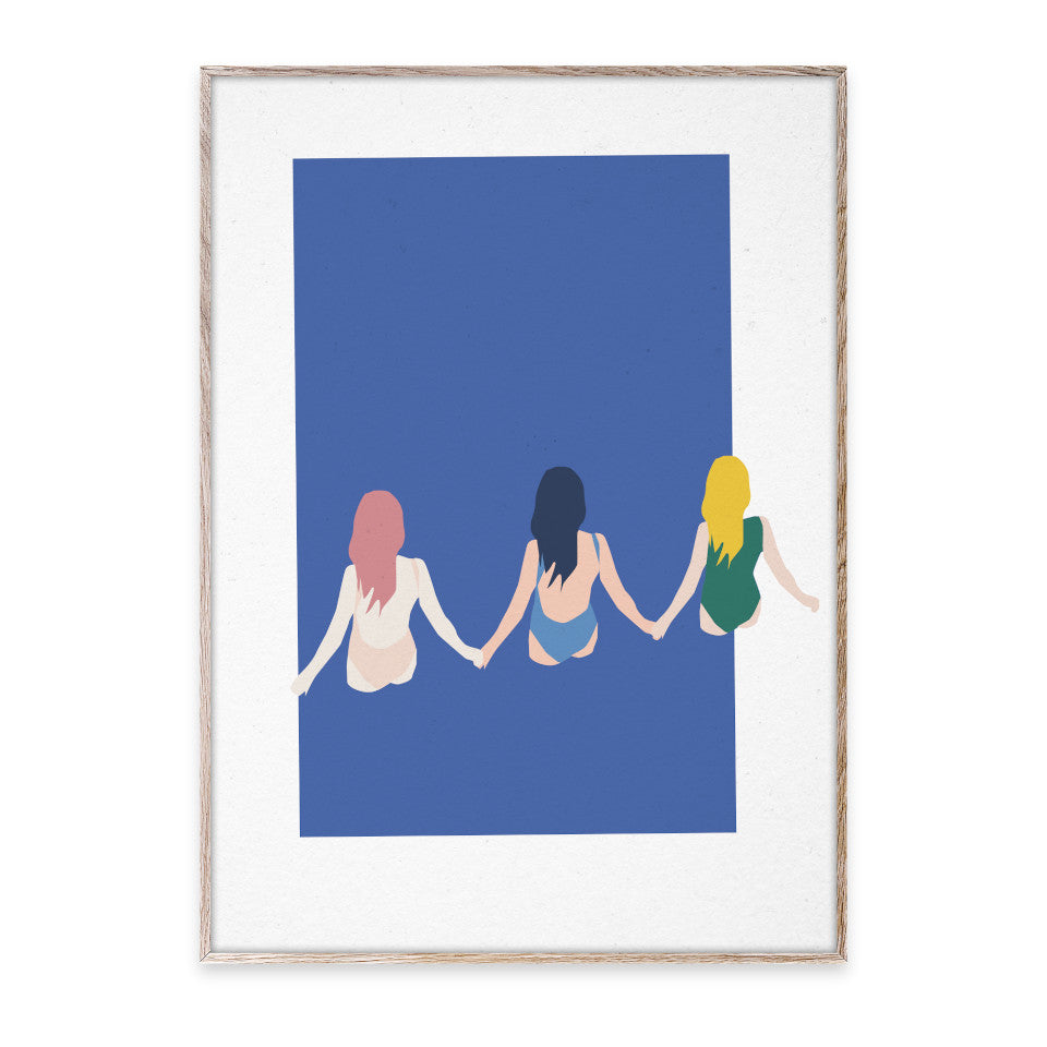 Girls three girls holding hands and wading out on blue background facing away 30x40 cm print.