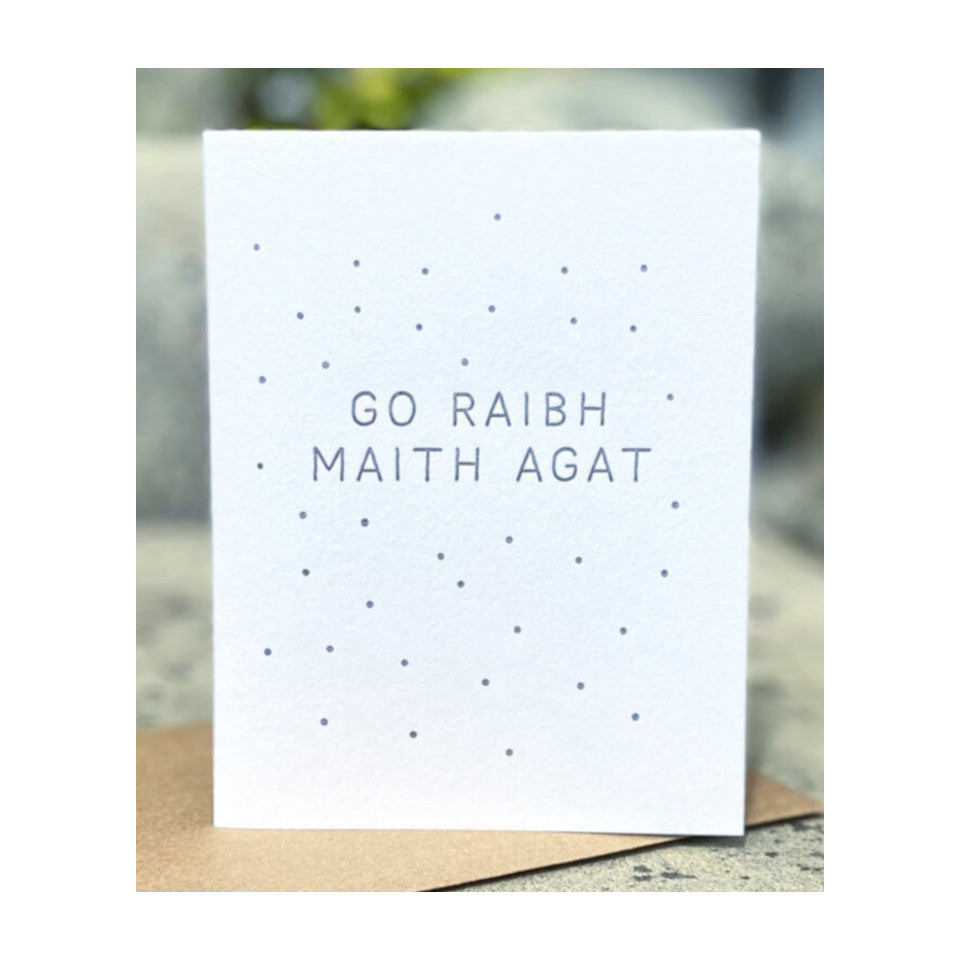 Go Raibh Maith Agat ('thank you' in Irish) greeting card with brown 100% recycled envelope.