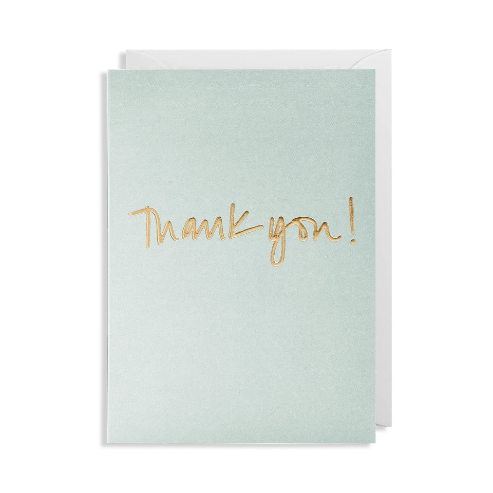 Thank you! blank greeting card, gold lettering on grey background, with white envelope.